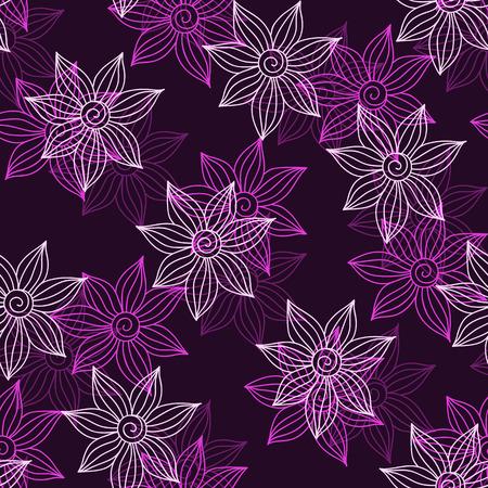 violet background: Henna MehendyTattoo Doodles Seamless Pattern on a violet background