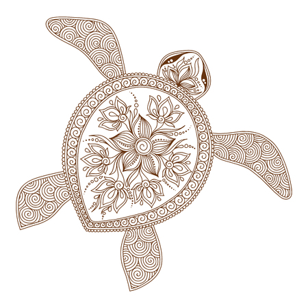 Decorative graphic turtle, tattoo style, tribal totem animal, vector illustration, isolated elements, lace pattern, Indian mehendi style
