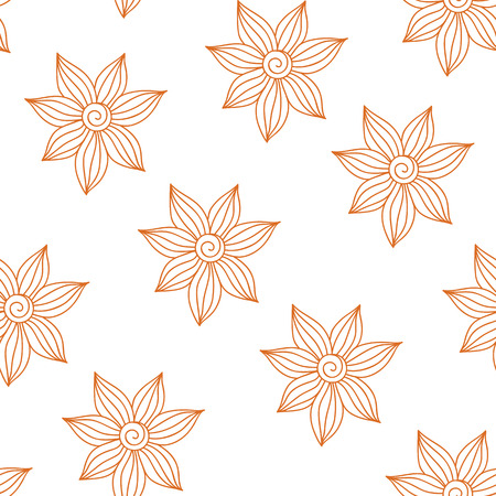 tilable: Henna Mehendy Tattoo Doodles Seamless Pattern on a white background Illustration