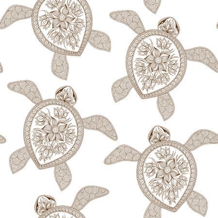 schildkröte: Nahtlose Muster mit Schildkröten kann für Tapeten, Muster füllt, Web-Seite Hintergrund, Oberflächenstrukturen. Nahtlose Tier Hintergrund. Indian mehendi Stil