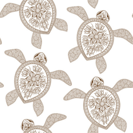 Seamless pattern with turtles can be used for wallpaper, pattern fills, web page background,surface textures. Seamless animal background. Indian mehendi style Illustration