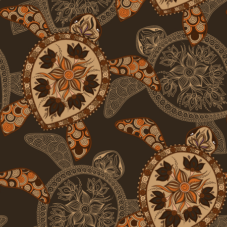 mehendi: Seamless pattern with turtles can be used for wallpaper, pattern fills, web page background,surface textures. Seamless animal background. Indian mehendi style Illustration