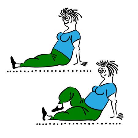 femme dessin: Exercice vieille femme. exercices du matin, illustration vectorielle, Pilates pose ensemble Illustration
