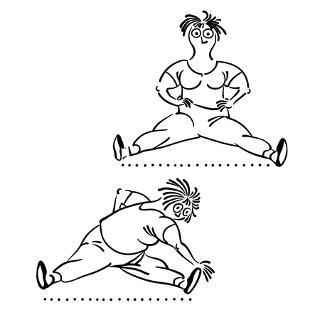 woman vector: Exercising old woman. morning exercises, vector illustration, Pilates poses set Illustration