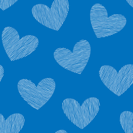 st  valentine's: Seamless pattern with hand drawn hearts. St Valentines day background. Cute texture with polka dot hearts