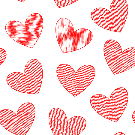 Seamless pattern with hand drawn hearts. St Valentines day background. Cute texture with polka dot hearts