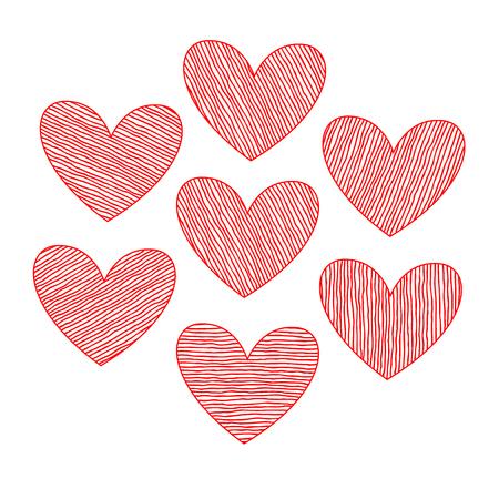 vector hearts: Vector hearts set. Hand drawn.