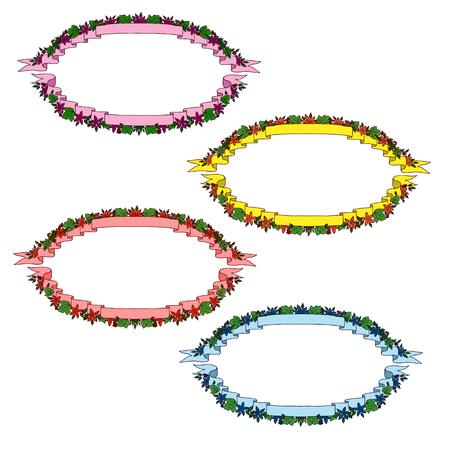 oval frame: Vintage ribbon banners. oval frame of ribbons