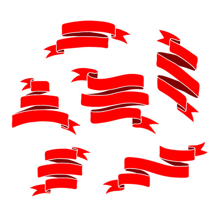Vintage ribbon banners, hand drawn set 矢量图像