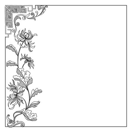 calligraph: Vector vintage border frame with lily Illustration
