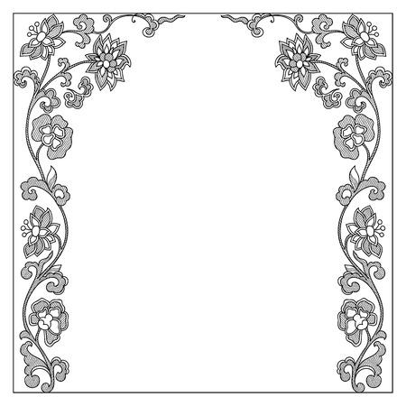 borde de flores: Vector marco de la frontera de la vendimia elementos de dise�o caligr�fico Vectores