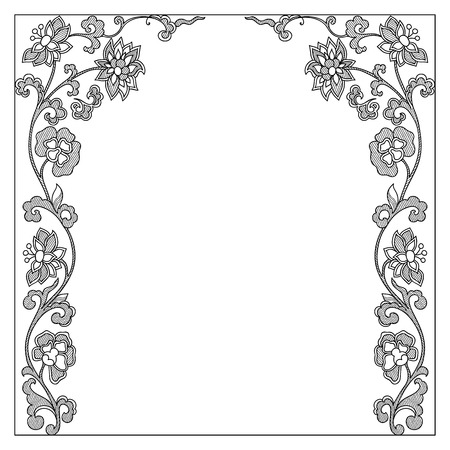 black and white flowers: Vector vintage border frame calligraphic design elements