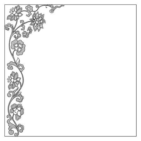 flower decoration: Vector vintage border frame calligraphic design elements