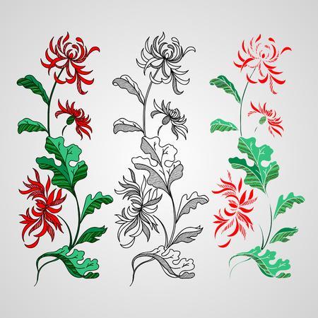 Lily flower isolated over white. Vector illustration. Иллюстрация