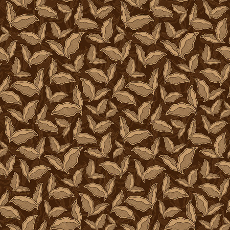 Decorative vintage ornamental seamless pattern. Endless elegant texture with leaves. Tempate for design fabric, backgrounds, wrapping paper, package, covers