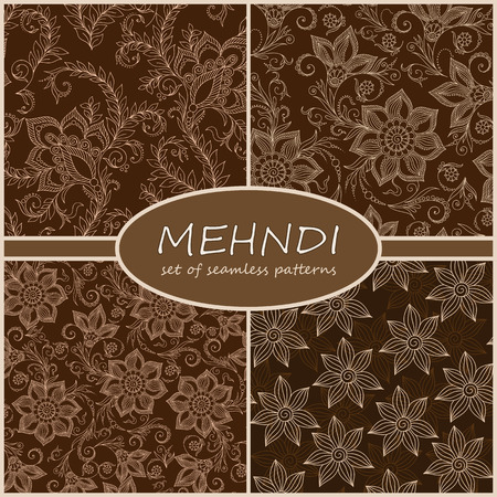 tilable: Henna Mehndi Tattoo Doodles Seamless Pattern Background Collection. Flowers Illustration Design Elements Illustration