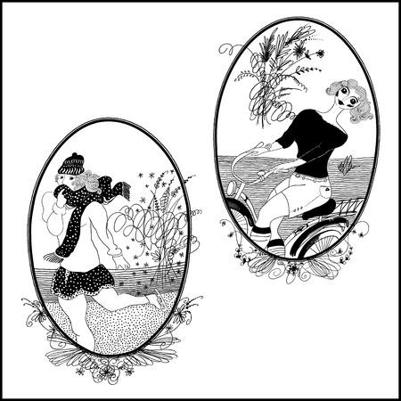 cuerpo femenino: dibujados a mano las ni�as, las ni�as conjunto vendimia
