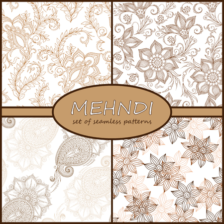 Henna Mehndi Tattoo Doodles Seamless Pattern Background Collection. Flowers Illustration Design Elements Illustration