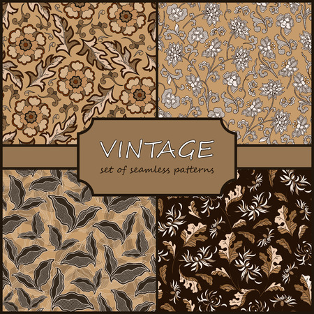 dise�o textil: Seamless Vintage Floral Background Collection. Vector background for textile design. Wallpaper, background, repeating pattern.