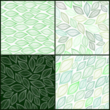 green background texture: Set of Four Vintage Seamless Pattern With Leaf. Abstract leaf texture, endless background.Seamless pattern can be used for wallpaper, pattern fills, web page background, surface textures.