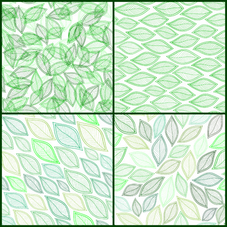 fall winter: Set of Four Vintage Seamless Pattern With Leaf. Abstract leaf texture, endless background.Seamless pattern can be used for wallpaper, pattern fills, web page background, surface textures.