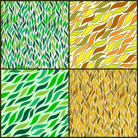 fall images: Set of Four Vintage Seamless Pattern With Leaf. Abstract leaf texture, endless background.Seamless pattern can be used for wallpaper, pattern fills, web page background, surface textures.