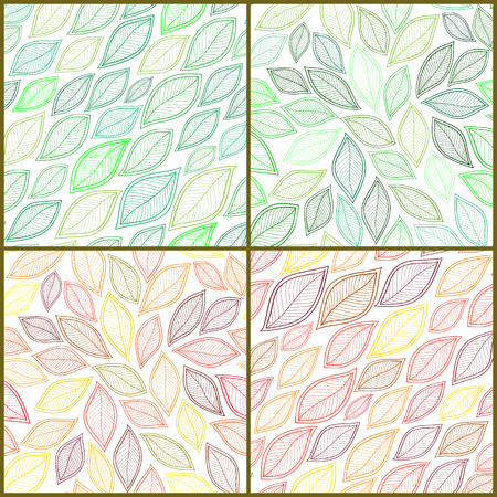 four texture: Set of Four Vintage Seamless Pattern With Leaf. Abstract leaf texture, endless background.Seamless pattern can be used for wallpaper, pattern fills, web page background, surface textures.