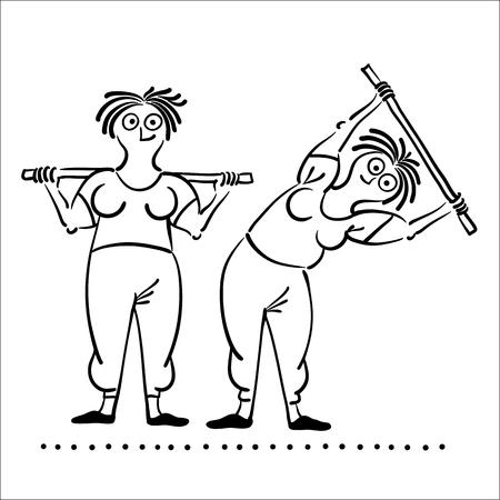 deportes caricatura: Ejercicio de la mujer de edad. ejercicios de la ma�ana, ilustraci�n vectorial, Pilates plantea conjunto