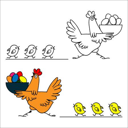 huevo caricatura: gallina y pollitos ilustraci�n vectorial