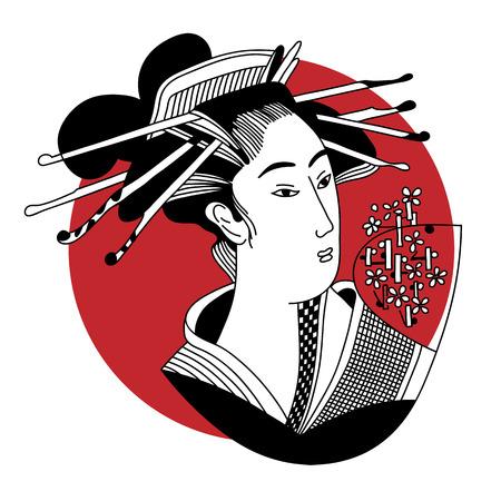 geisha. Japanese Woman vector illustration Stok Fotoğraf - 47377868