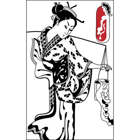 yukata: geisha. Japanese Woman.Japanese banner. Vintage hand draw art . Set of illustrations Illustration