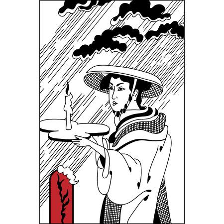 日本人の女の子は、雨の中でキャンドルの芸者。ヴィンテージ手描きアート。イラストのセット