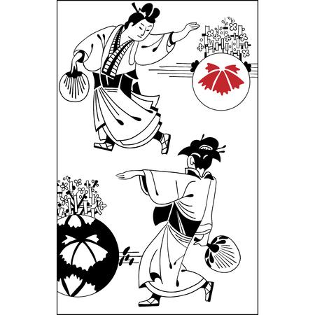日本のカップルの伝統的な衣装でのスケッチ。若いカップルの着物、赤と黒を身に着けています。ヴィンテージ手描きアート。イラストのセット