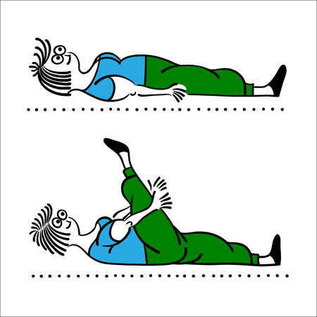 weight loss woman: Exercising old woman. morning exercises, vector illustration, Pilates poses set Illustration