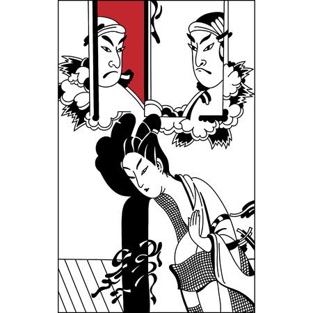 yukata: geisha. Japanese Woman.Japanese banner. Vintage hand draw art. Set of illustrations Illustration