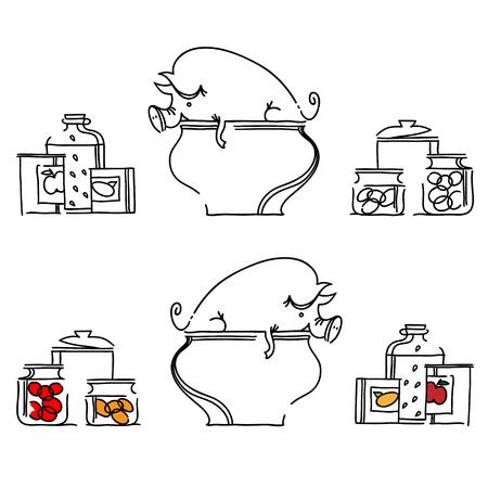 cocina caricatura: cerdo en una cacerola grande. Conjunto de banderas de cocina.