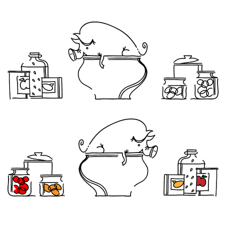 cartoon business: pig in a large saucepan. Set of kitchen banners. Illustration