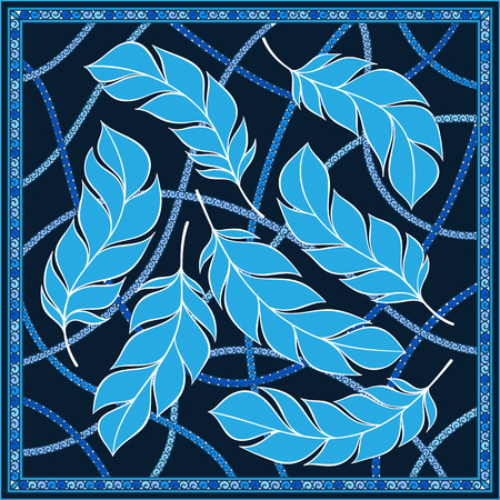 bandana western: Vector design with abstract hand drawn waves pattern with feathers. Template design for card or shawl.