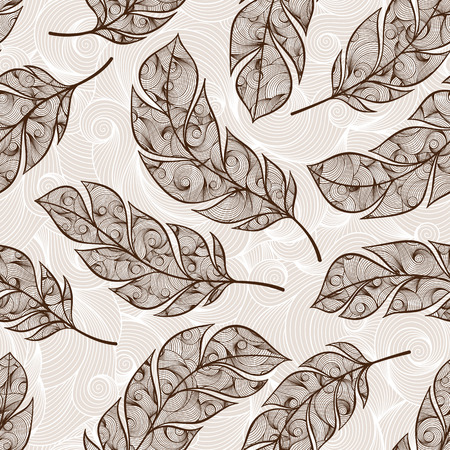 softly: abstract feather pattern. Vector hand drawn seamless patterns with feathers