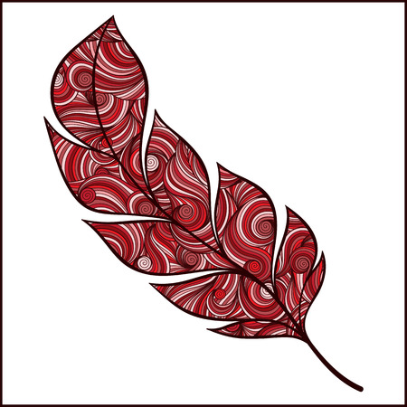 artistically: Artistically drawn, stylized, red vector feather on a white background. Vintage tribal feather. Series of doodle feather.