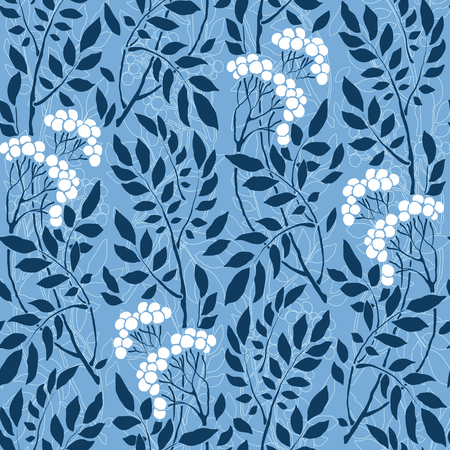 painting art: seamless Art Deco vintage pattern with sprigs and berries Illustration