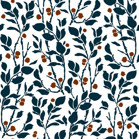 line art: seamless Art Deco vintage pattern with sprigs and berries Vectores