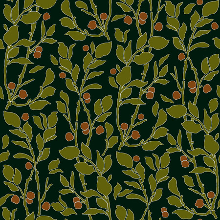 seamless Art Deco vintage pattern with sprigs and berries 일러스트