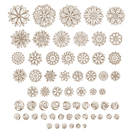 mandala tattoo: Henna tattoo doodle vector elements on white background