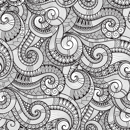 abstract doodle: Seamless black and white abstract hand-drawn pattern, waves background. Doodle Illustration Design