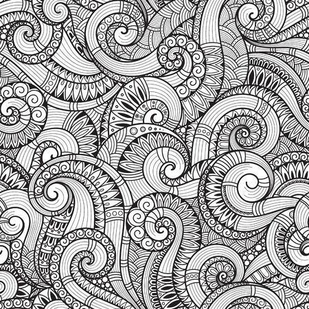 tilable: Seamless black and white abstract hand-drawn pattern, waves background. Doodle Illustration Design