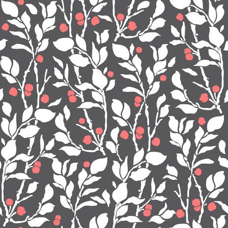小枝とベリーのシームレスなアールデコ ヴィンテージ パターン