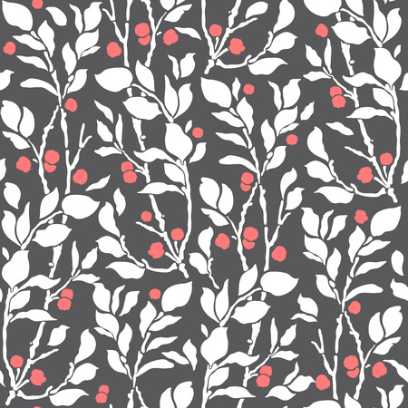 nature pattern: seamless Art Deco vintage pattern with sprigs and berries Illustration