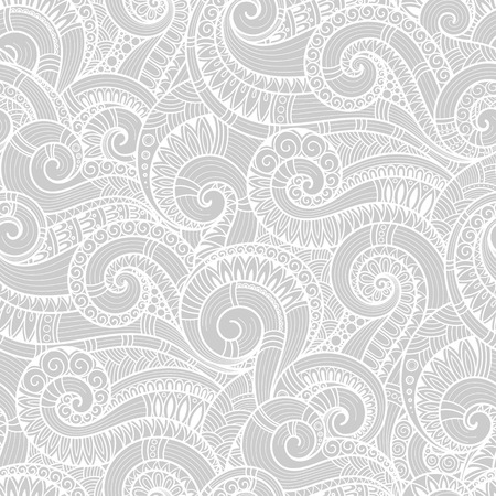 Seamless black and white abstract hand-drawn pattern, waves background. Doodle Illustration Design