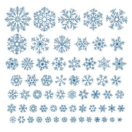 flocon de neige: Ensemble de différents flocons de neige dessinés à la main
